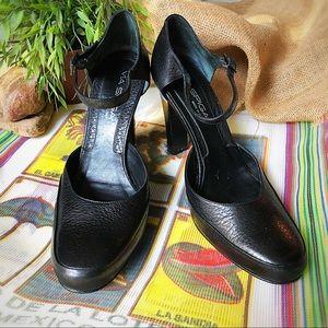 Via Spiga genuine leather black ankle strap heels